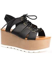 Ideal Shoes - Sandales à plateforme style spartiate Medea