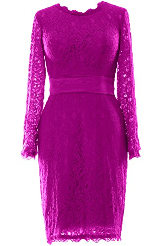 MACloth Women Long Sleeve Lace Short Cocktail Dress Wedding Party Evening Gown Fuchsia