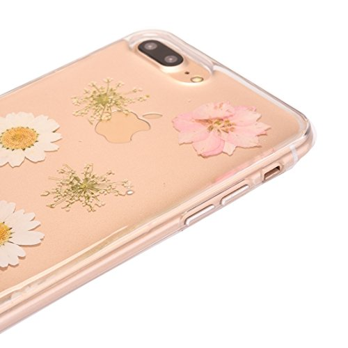 Hülle für iPhone 7 plus , Schutzhülle Für iPhone 7 Plus Epoxy Dripping gepresste echte getrocknete Blume weichen transparenten TPU Schutzhülle ,hülle für iPhone 7 plus , case for iphone 7 plus ( SKU : Ip7p0996e