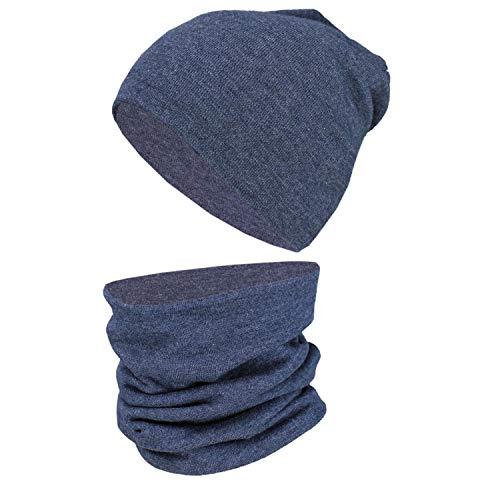 Tuptam berretto e sciarpa scaldacollo coordinati per bambini, jeans scuro sreziato, 44-52 cm