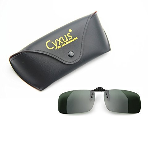 Cyxus Polarized Lenses Classic Sunglasses Clip-On Prescription Glasses [Anti-glare] [UV Protection] Driving/Fishing Outdoor Eyewears, Men & Women (Dark Green) by Cyxus