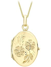 Carissima Gold 9ct Weiß Gold Daisy Oval Locket Pendant on Curb Chain