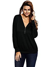 EOZY Tunique Casual Tops Femmes Sweat-Shirt Printemps Col V Blouses