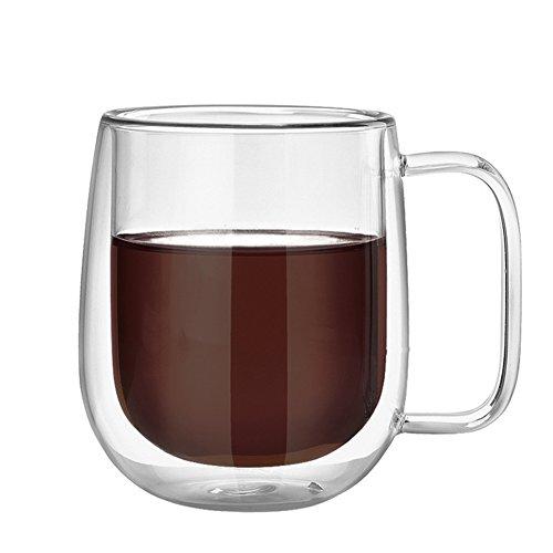 300 ml à double paroi en verre Mug avec poignée Isolation thermique Transparent en verre borosilicate Tasses résistance à la pour thé, café,