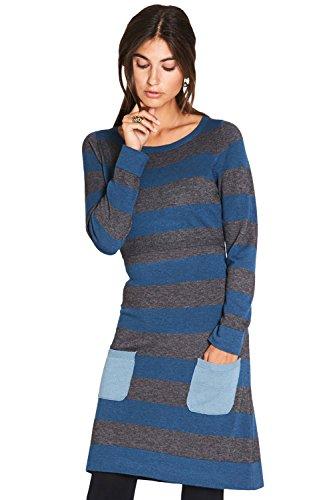 Milker Liv Stillkleid Umstandskleid aus Wolle-Viskose-Strick blau/grau/hellblau Gr. M (Handwäsche, Viskose)