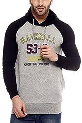 Gritstones Grey Melange/Black Printed Sweatshirt-GSSSGMELBLKBASE-L