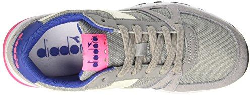 Diadora Run 90, Sneaker Basses Mixte Adulte Gris (Grigio Paloma/rosa Fluo)