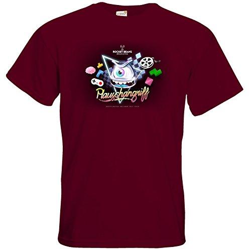getshirts - Rocket Beans TV Official Merchandising - T-Shirt - Plauschangriff Burgundy