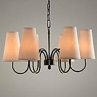 Illuminazione jiaily 60W moderno lampadario con staffa metallica nera e tessuto ombra , 220-240V