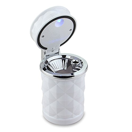 Portacenere auto xue con auto leggera a led con portacenere creativo lucido in acciaio inossidabile forniture per arredamento interni multifunzione per auto, bianco, 6,8 * 11,3