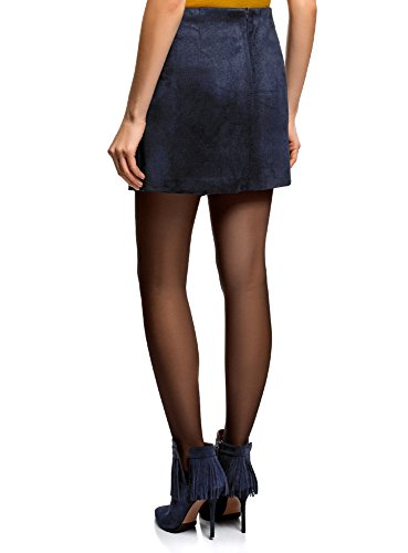 oodji Ultra Damen Wickelrock aus Lederimitat Blau (7900N)