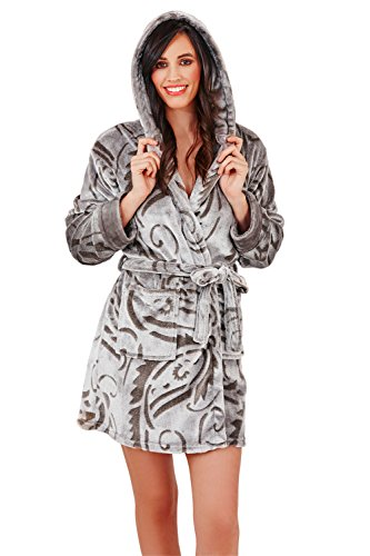 Loungeable Donna Lusso in Pile Super Morbido Accappatoio Lounge pigiama Paisley Hooded L