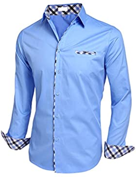 BeautyUU Herren Hemd Baumwolle Langarmhemd Slim Fit Freizeithemd Bügelleicht