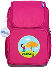 UniQBees Personalised School Bag With Name (Active Kids Medium School Backpack-Pink-Butterfly)