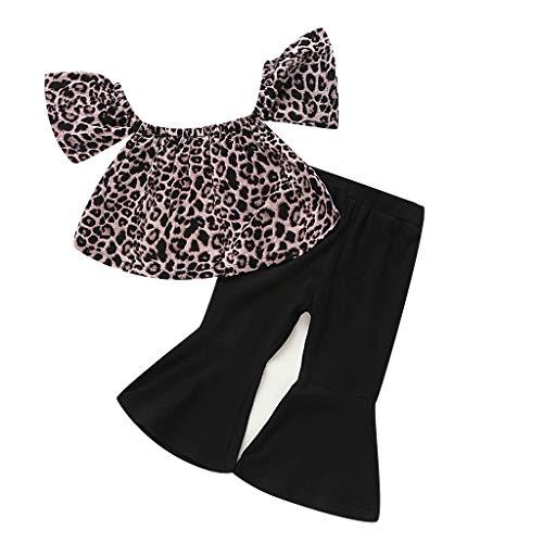 Baby Mädchen Outfits Set Leoparden-Top + Schlaghose, Alwayswin Schulterfrei Eine Schulter Top Schwarz Hosen Sporthosen Sommer Baumwolle Lässig Kleidung Outdoor Party Zweiteiliges Set Baby Gap Outfit