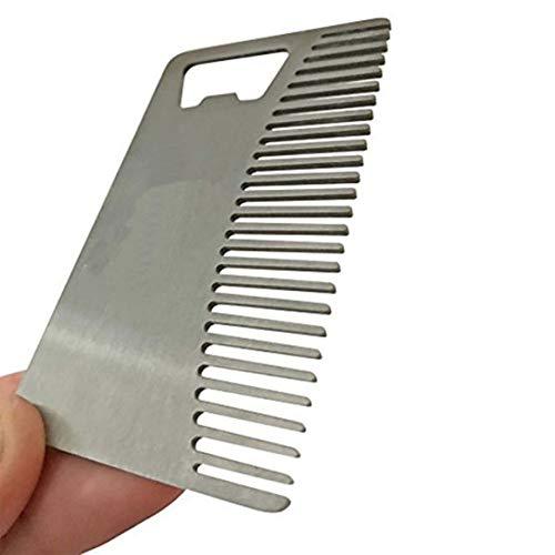 Delicacydex Metall-Haar- und Bartkamm mit Flaschenöffner Mehrzweck-Werkzeug für Kreditkartengröße für Brieftasche und Tasche - Silber - Brieftasche Mehrzweck