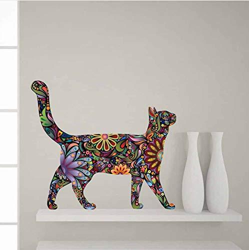 Bunte Blumen Katze Wandaufkleber Walking Cat Decals für Wohnzimmer Nordic Home Deco abnehmbare Wandbilder -