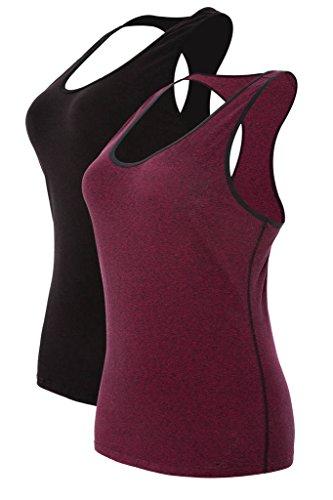 Attraco Damen Tank Top Unterhemd Baumwolle Zumba Kleidung Sport Shirt Workout Fitness Outfit Schwarz Weinrot 2XL