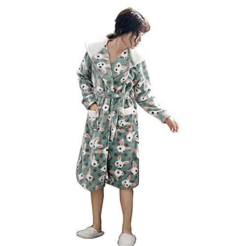 DX Bademantel für Frauen, mit Kapuze Spa, dicken, ultraweichen Morgenmantel, luxuriöser Nachtwäsche für Herbst und Winter (Größe: XL)
