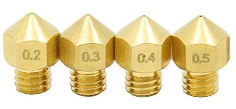 Qipang 4PCS Imprimante 3D 0,2 mm 0,3 mm 0,4 mm 0,5 mm Extruder Pomme à laiton tête d'impression pour MK8 Makerbot Reprap (1,75 mm de longueur)
