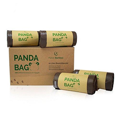 Planet Bamboo: Bolsas compostables de biorresiduos (7 a 10 L con mango   100 piezas   Marrón) 100% compostables según EN 13432