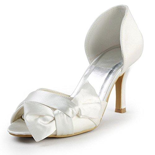 XINJING-S Ep 2046 Ivory Satin Peep Toe Bug geraffte High Heel Pumps Hochzeit Braut Weiß