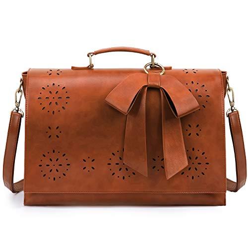 ECOSUSI Vintage Damen Schultasche Arbeitstasche Aktentasche Laptoptasche 15,6