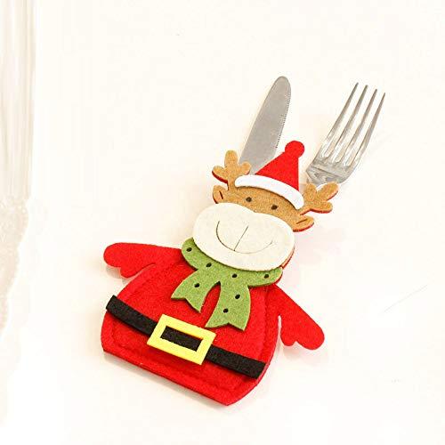 ZYUEER Porte-Couverts Serviette Couteaux Fourchette Cuillère en Forme de Costume Père Noël Mignon Décoration de Cuisine Table Réveillon Noël (1pc) Pas Cher Size: Appro 16 * 11cm (Rouge C)