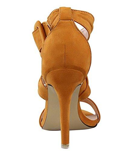 Wealsex Escarpins Sandales Talons Haute Aiguilles Daim Sangles Croisées Boucle Bout Ouvert Sexy Mode Vintage Jaune