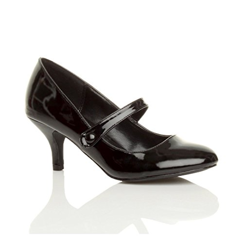 Femme moyen haute talon sangle babies travail fête soir élégant chaussure taille Noir Vernis