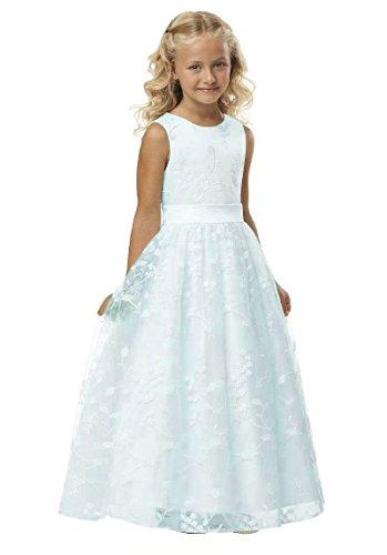 Izanoy Mädchen Lange Spitze Blumenmädchen Kleid Heilige erste Kommunion Kleid Weiß Eins 4