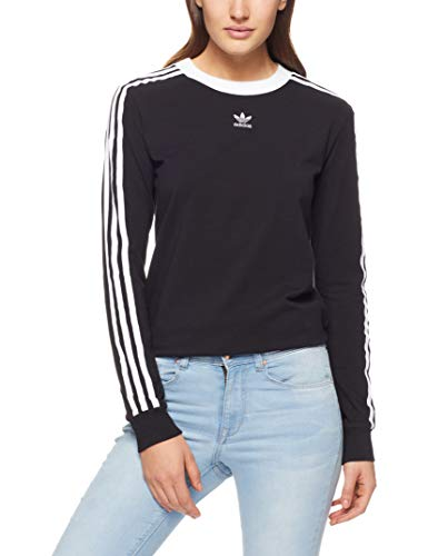 adidas Damen 3-Stripes Longsleeve, Black, 40 -