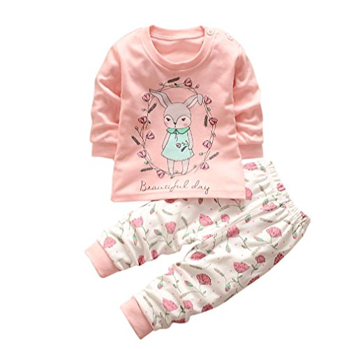 Kolylong Baby Outfits For 0-3Y, Girl Boy Lovely Bunny T Shirt Top+Stripe Pants Clothes Sets Pajamas (3T, Pink)