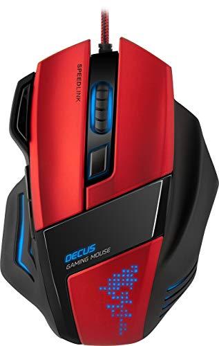 Speedlink Decus Core Gaming Maus (Laser-Sensor, 7 Tasten programmierbar, interner Speicher, DPI-Schalter bis 5000dpi) rot (Generalüberholt) -