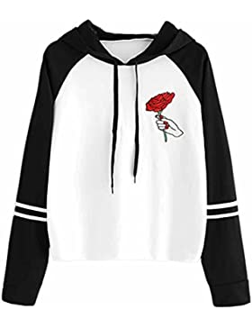 HARRYSTORE Autumn Women Rose Embroidery Sweatshirt Black Hooded Pullover Tops de cordón