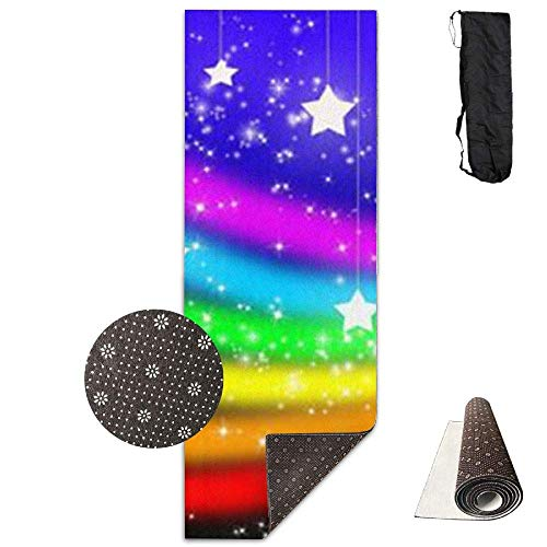 HiExotic Matte Yoga Mat Eco-Friendly Anti Slip Rainbow Stars Mat Carrying Strap & Bag Non-Toxic Printedfor Exercise,Yoga and Pilates 71 X 24 Inch