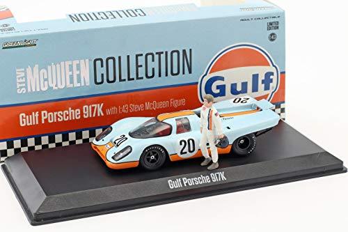 Greenlight Gulf Porsche 917K #20 mit Steve McQueen Figur Gulf blau / orange 1:43