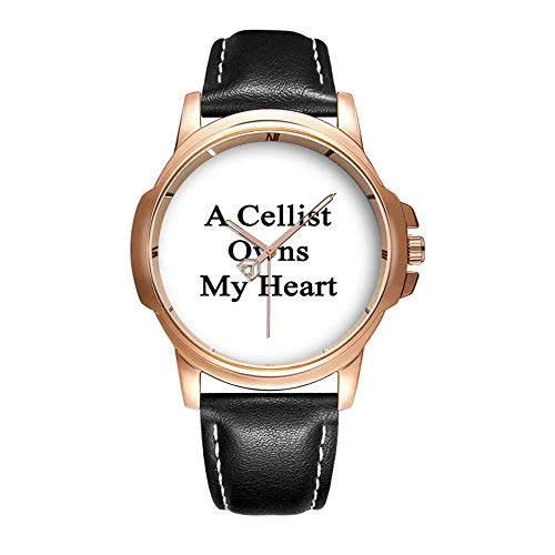 Personality Mode Wasserdichte Herren-Armbanduhr Analoges Quarzlederband Mit Gold-381.A Cellist Owns My Heart Wristwatch