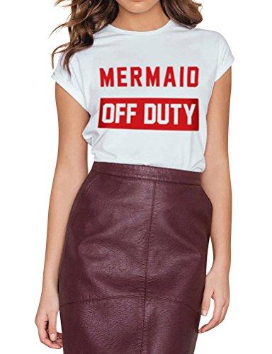 Nlife Frauen Mermaid Off Duty Brief Drucken Casual Kurzarm Top Tee T-Shirt