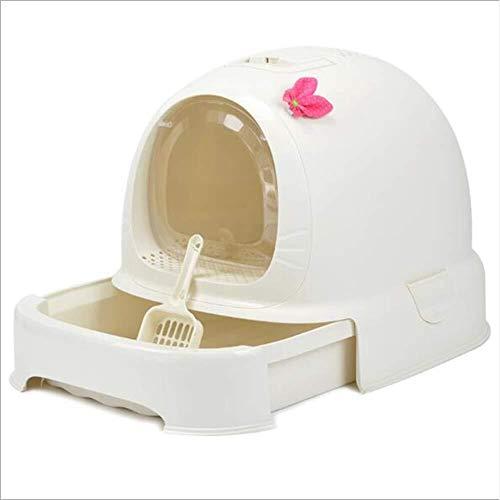 ZSQPSF Geschlossener Deodorant selbstreinigend Kunststoff Haustiertoilette, Katzentoilette Feld/Katzenklo, grau ZSQPSF (Color : White)