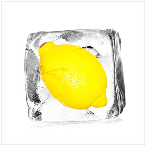 Wallario Acrylglasbild Zitrone in Eiswürfel - Eiskaltes Obst - 50 x 50 cm in Premium-Qualität: Brillante Farben, freischwebende Optik