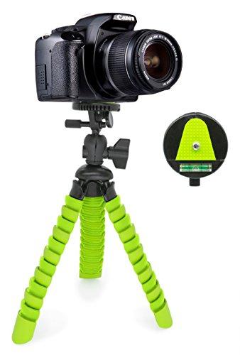 MyGadget Dreibein Kamera Stativ [Klein & Flexibel] Universal Tripod mit Kugelkopf - Gelenke Kamerastativ für z.B. Canon, Nokia, Sony - Schwarz/Grün