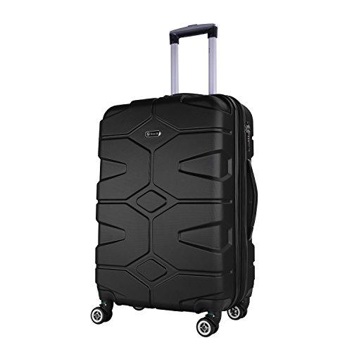 Schwarz-traveler-case (SHAIK® SERIE RAZZER SH002 3-tlg. DESIGN PMI Hartschalen Kofferset, Trolley, Koffer, Reisekoffer, 50/80/120 Liter, 4 Doppelrollen, 25% mehr Volumen durch Dehnfalte (Schwarz, XL - Großer Koffer))