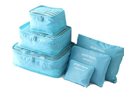 Ducomi® Elite Traveler - Set di 6 Organizzatori da Viaggio Impermeabili per Valigie ideali per Indumenti, Scarpe, Cosmetici, Intimo e Biancheria (Light Blue)