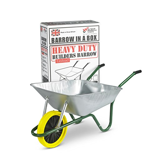 Walsall Wheelbarrows 85 Ltr Galvanized Wheelbarrow in a Box - Puncture Proof Wheel