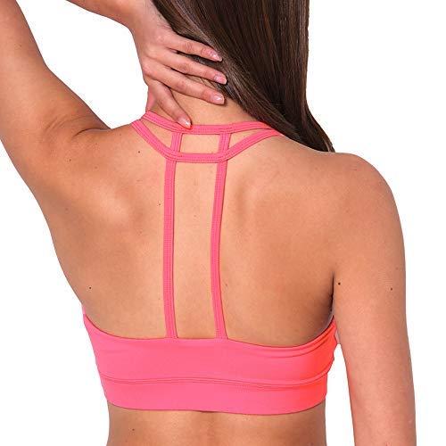 LYZ Damen Gepolsterte Sport-BH Criss Cross Back High Impact Strappy Yoga BH, Damen, Pink Double T Straps, Medium - Double Cross Strap