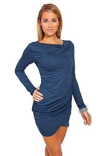 Futuro Fashion Trendy Damen Minikleid Langärmelig Asymmetrisch Ausschnitt Tunika 6053 Graphit