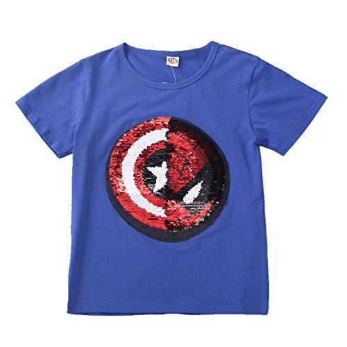 Lee little Angel Magic Pailletten-Sweatshirt für Jungen und Mädchen, Baumwolle, 3-13 Jahre alt Gr. 150 cm, blau (Kinder America-kleidung Captain Für)