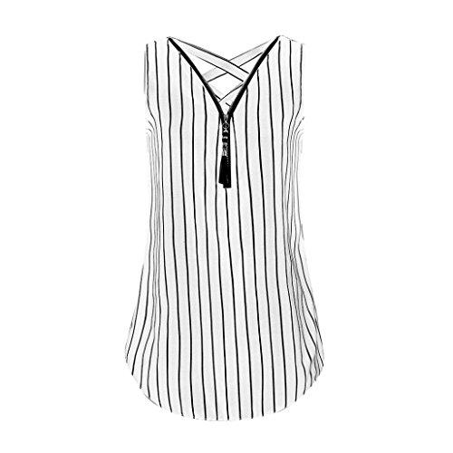 SEWORLD 2018 Damen Sommer Mode Frauen Lose Ärmellose Tank Top Kreuze Zurück Saum Gelegt Reißverschluss V-Ausschnitt T-Shirts Tops(H-b-Weiß,3XL)