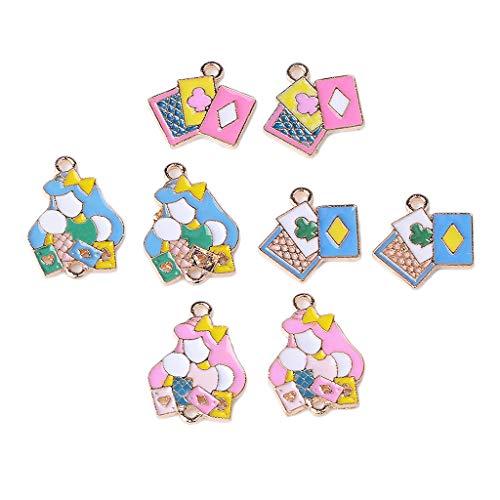Childs Fisch Kostüm - chiwanji 8 Stück Emaille Poker Girl Theme Charms Schmuck Findings Dekorative Anhänger Ornamente Kleidung Verzierungen